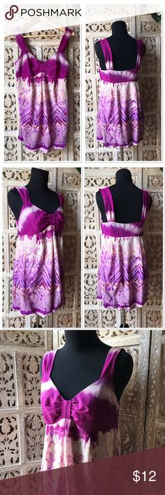 """INC International Concepts printed tie dye tunic M INC International Concepts printed purple tie dye tunic size Medium. New without tag condition. Side zipper. Across chest about 16"""". Tunic length about 30 1/2"""". Can be worn as mini dress as well INC International Concepts Tops Camisoles"""