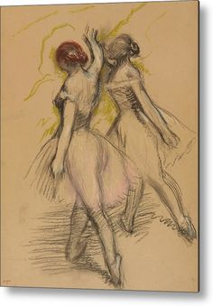 Degas Metal Print featuring the drawing Two Dancers by Edgar Degas