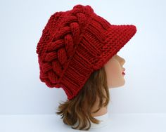 Red Newsboy Cap - Cable Knit Beanie - Chunky Hat With Visor - Brimmed Beanie - Wool Blend Headwear - Women's Hat - Knit Accessories by BettyMarieJones on Etsy