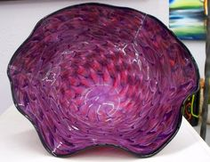 Hand Blown Glass Art Pink Purple Patterned Bowl 3115 by oneilsarts, $195.00