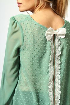 Iris Chiffon Spot Blouse With Lace And Bow Zip-Up Back