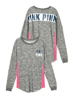 Victoria's Secret PINK Varsity Crew Size: Medium Oversized Print Graphics Mesh pink sides Dark Heather Gray Our lightest French Terry Longer, tunic length Imported cotton/polyester Condition: New in Package ✨✨Price is Firm✨✨ ~ Thank you for looking ~ Victoria Secret Outfits, Pink Victoria Secret, Victoria's Secret Pink, Victoria Secrets, Vs Pink, Pink Love, Pink Outfits, Cute Outfits, Fall Outfits