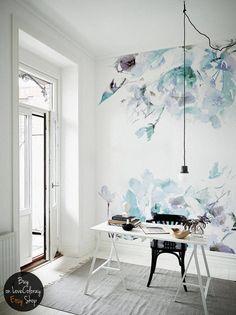 Blaue Jahrgang - Blumen abnehmbare Tapeten | Aquarell Wandbild | Schälen und Aufkleben | 246x246cm #23