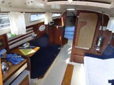 http://www.nanaimoyachtcharters.com/yacht-list/yacht-details.php?id=27  A generous V berth forward and enclosed head for privacy and a small galley make this ideal for new sailors. The forward v-berth will accommodate 2.