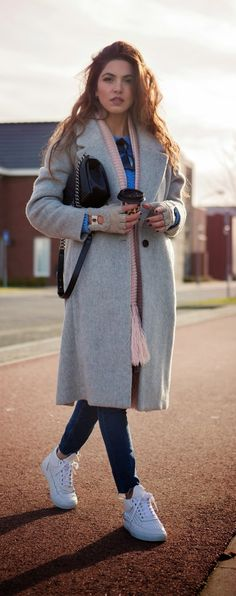 Fashionable Grey Coat , Baby pink Scarf . Blue Knit Sweater and White Sneakers   Fall Street Outfits