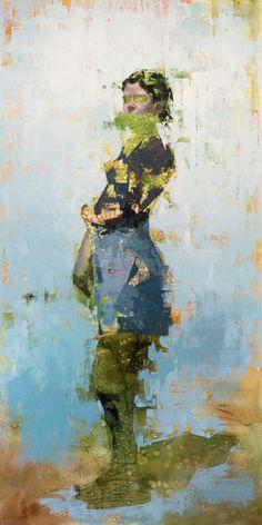 """John Wentz - """"Imprint No. 25"""" - oil on canvas - 76"""" x 38"""" (2015)"""