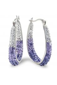 Sterling Silver Purple and White Crystal Hoop Earrings made with Swarovski Elements