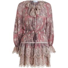 ZIMMERMANN Tulsi Paisley Mini Dress ($750) ❤ liked on Polyvore featuring dresses, zimmermann, short summer dresses, ruffle sleeve dress, neck-tie, red necktie and embroidered dress