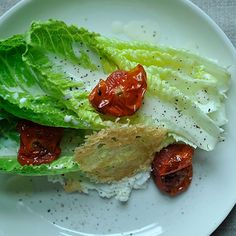 Goat Cheese Caesar Salad with Roasted Tomatoes and Parmesan Crisp recipe on Food52