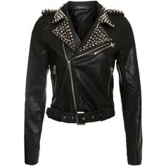 Club L Black Pu Studded Collar Biker Jacket ($130) found on Polyvore
