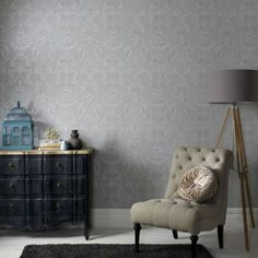 Grey Wallpaper with cream couch - yes!