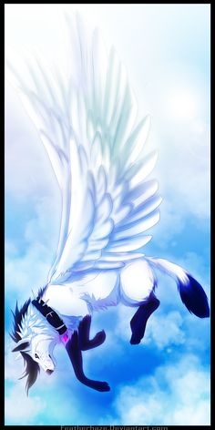 This is how my friends discribe me ,anime wolf with wings Pet Anime, Anime Animals, Cute Fantasy Creatures, Mythical Creatures Art, Cute Animal Drawings, Cute Drawings, Wolf Drawings, Fantasy Wolf, Fantasy Art