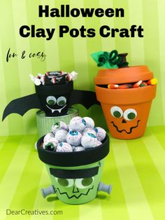 Halloween craft - Transform Clay Pots into a Jack-O-Lantern, Frankenstein, Bat. Make this yourself or as Halloween craft for kids. Or make this for classroom parties, kids parties or a boo-gift. Halloween Clay, Halloween Crafts For Kids, Halloween Projects, Diy Halloween Decorations, Flower Pot Crafts, Clay Pot Crafts, Foam Crafts, Pinterest Halloween Crafts, Frankenstein Craft