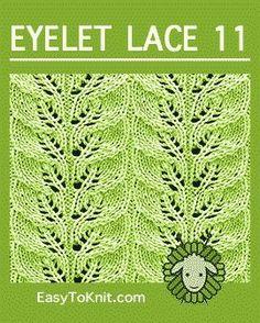 Easy Lace Pattern to knit! Easy Lace Pattern to knit! Leaf Knitting Pattern, Lace Knitting Stitches, Lace Knitting Patterns, Knitting Charts, Lace Patterns, Loom Knitting, Stitch Patterns, Knitting Machine, Craft Patterns
