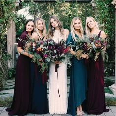 25 Chic Fall Bridesmaids' Dresses Ideas - all mismatched bridesmaids& looks in plum and teal dresses to show off the personal style of each girl Source by ampadalino - Jewel Tone Bridesmaid, Jewel Tone Wedding, Mismatched Bridesmaid Dresses, Wedding Bridesmaid Dresses, Wedding Gowns, Teal Dresses, Maxi Dresses, Dark Teal Bridesmaid Dresses, Pageant Dresses