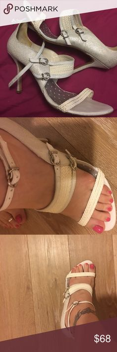Carmen Steffens heels White with silver specks made in Brazil very comfortable and beautiful one of a kind! Wear to wedding once but to spectacular to sit in my closet.... I wear a 8 1/2 -9 and fit me perfectly shoe says 39 BRA 41 EUR carmen steffens Shoes Heels