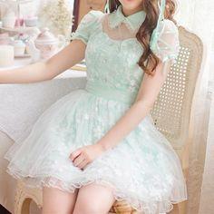 S-XL Light Green Fresh Princess Dress SP167126