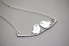 LOVEBIRDS Necklace in Sterling Silver  by SilverLotusDesigns, $24.00