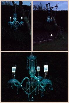 Homemade solar chandelier.
