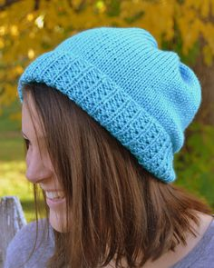 Knit Slouch Beanie Mock Cable Brim Hat Hand Knit in Turquiose Blue by Gone2Pieces