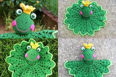 Crochet Frog snuggle pattern Diameter: 23 cm / 9inch Material:  100% cotton Dk knitting yarn (121m /50g 100% cotton : Phildar Coton 3): color : green, light green, yellow, pink  crochet hook :3mm  yarn needle  fiberfill  1 pair frog safety