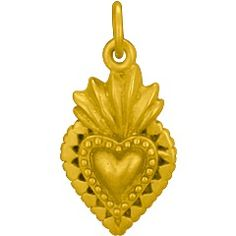 24K Gold Plated Sterling Silver Sacred Heart Charm