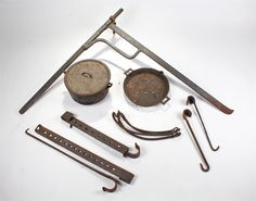 18th Century chimney crane together with hooks arms and a cooking pot