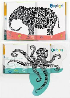 Kids book that combines the alphabet, typography, art, and animals.