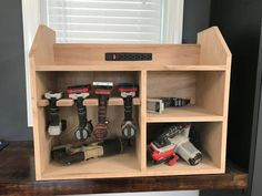 Your place to buy and sell all things handmade Power Tool Charging Station Power Tool Organizer Drill Woodworking Power Tools, Popular Woodworking, Woodworking Projects, Woodworking Shop, Wood Projects, Power Tool Organizer, Power Tool Storage, Types Of Furniture, Furniture Design