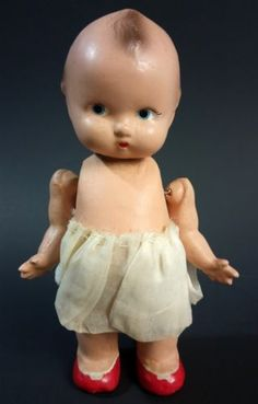 RARE-Old-Hand-Painted-Estrela-Brazil-Jaquim-Ceramic-Bisque-Kewpie-Baby-Doll