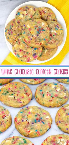 White Chocolate Confetti Cookies - gorgeous soft and chewy white chocolate and sprinkles sugar cookies. via White Chocolate Confetti Cookies - gorgeous soft and chewy white chocolate and sprinkles sugar cookies. Köstliche Desserts, Delicious Desserts, Dessert Recipes, Yummy Food, Healthy Food, Appetizer Recipes, Cake Recipes, Food Deserts, Healthy Meals