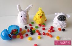 Crocheted Easter Egg Covers || Free pattern includes bunny, chick, and lamb