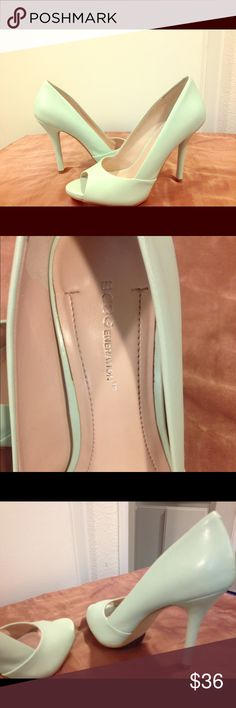 One time worn peep toe pump in mint color Great condition like new BCBGeneration Shoes Heels
