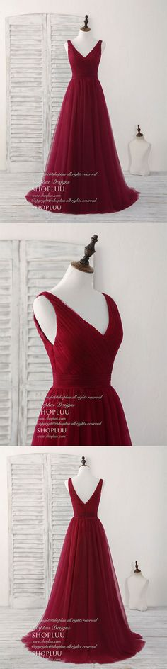 Simple v neck burgundy tulle long prom dress burgundy evening dress, Burgundy bridesmaid dress