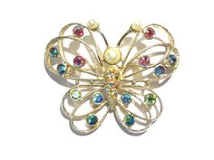 Vintage Signed Emmons Rhinestone Butterfly by darsjewelrybox