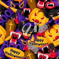 Happy Halloween seamless pattern with cartoon holiday symbols. Halloween Clipart, Happy Halloween, Clipart Images, Royalty Free Images, Clip Art, Symbols, Cartoon, Holiday, Pattern