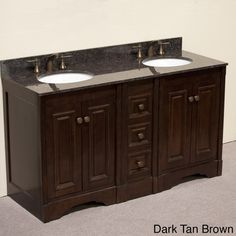 Legion Furniture Granite Top 60 inch Double Sink Traditional Style Bathroom Vanity in Dark Walnut Finish