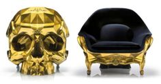Dieser Goldene Schädel-Sessel wird in Paris komplett handgefertigt
