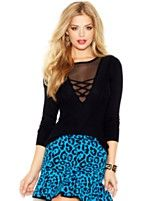 GUESS Long-Sleeve Mesh-Inset Sweater