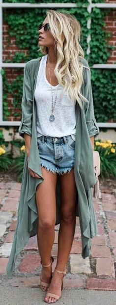 #summer #outfits Army Poncho + White Tank + Denim Short + Nude Sandals