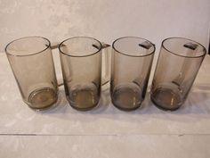 Vintage Tupperware EUC 1670 Acrylic Smoke Grey Mugs/Tumblers Set of 4