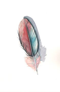 Feather Painting ORIGINAL watercolor painting  ART by Splodgepodge, $40.00