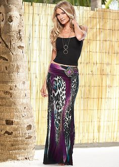 SEAMLESS CAMI, EMBELLISHED PRINT MAXI, TWO TONE CHAIN NECKLACE