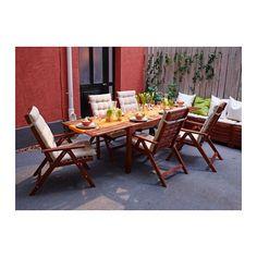 ÄPPLARÖ Drop-leaf table, outdoor - brown stained - IKEA