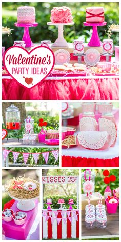 A cute pink and red Valentine's Day party with a kissing booth and yummy treats! See more party ideas at CatchMyParty.com!