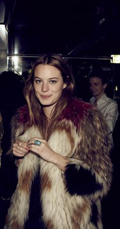 Camille Rowe ... Chunky faux fur jacket