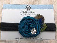 Baby Flower Headband - Peacock Feather Headband $11.95