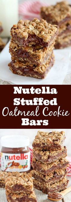 Nutella Stuffed Oatmeal Cookie Bars - Buttery brown sugar oatmeal cookie bars filled with Nutella chocolate hazelnut spread and chocolate chips. desserts nutella Nutella Bars - Oatmeal cookie bars stuffed with Nutella Pancakes Nutella, Nutella Bar, Nutella Stuffed Cookies, Nutella Snacks, Brownies With Nutella, Cookies With Nutella, Nutella Slice, Nutella Breakfast, Baking Recipes