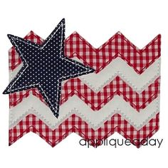 Chevron Flag and Star Applique - 4 Sizes! | 4th of July | Machine Embroidery Designs | SWAKembroidery.com applique a day