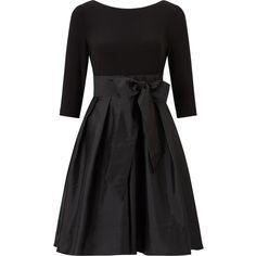 Adrianna Papell Taffeta Fit and Flare Dress, Black (€140) ❤ liked on Polyvore featuring dresses, long-sleeve midi dresses, petite cocktail dress, 3/4 sleeve dresses, maxi dresses and midi cocktail dress